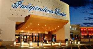 The main entrance to the Independence Center in Independence, MO.
