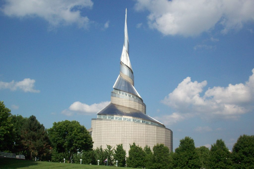 A huge, metallic temple spirals from it's wide base up to a point in Independence, Missouri.
