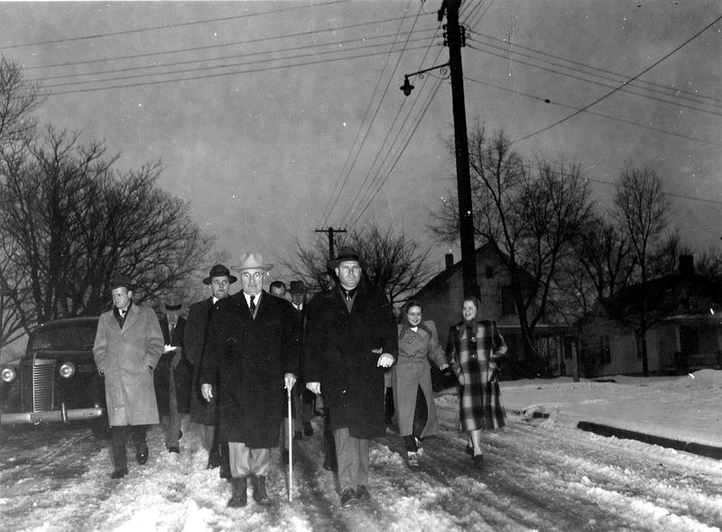 Truman walking in winter