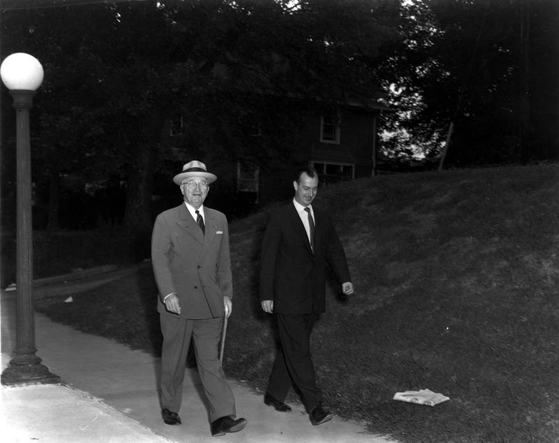 Truman walking to go vote
