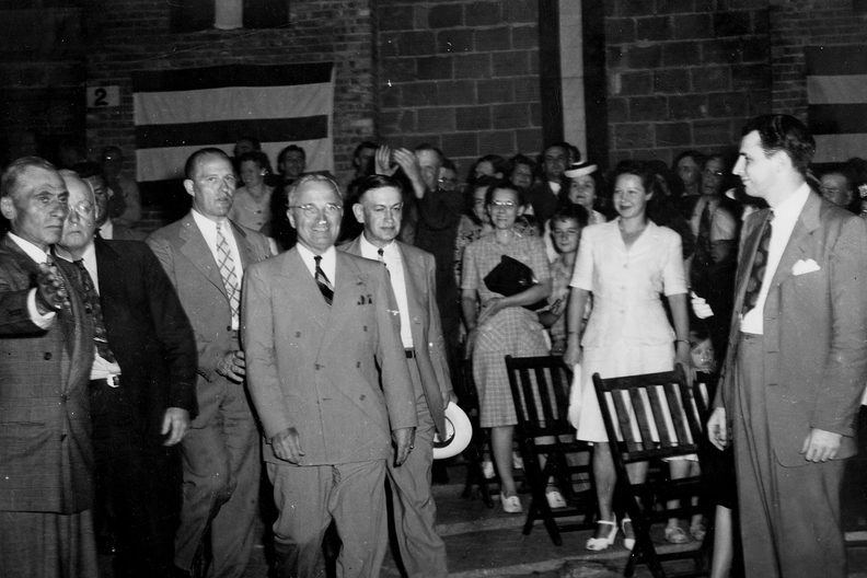 Harry Truman at an event in Independence for the first time since becoming president.