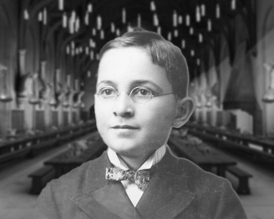 Photo Illustration of Harry Truman, 13, with Hogwarts Background