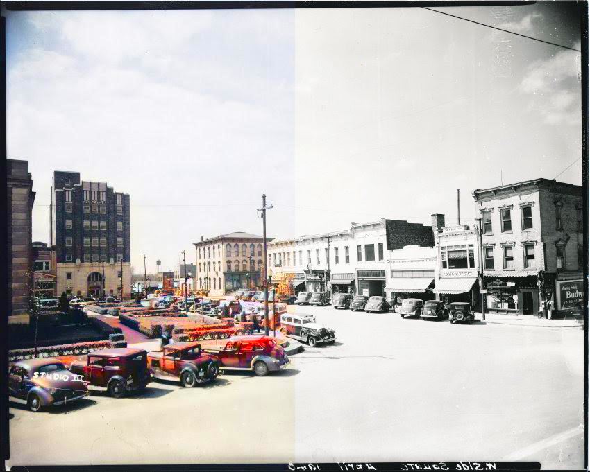 A half-colored photo illustration of the Independence, MO, Square