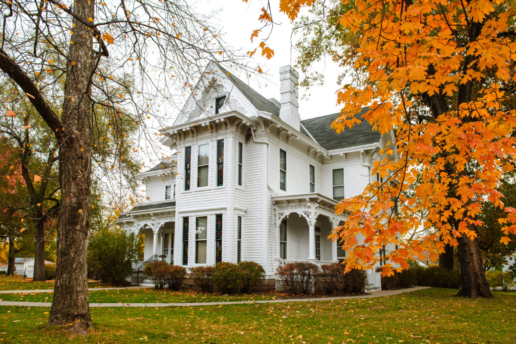 The Harry S Truman National Historic Site, or Truman Home, with leaves changed in the fall.