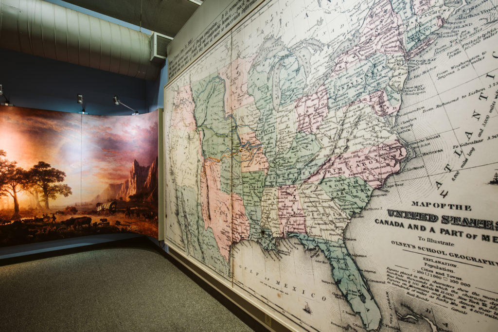 A large map of the westward trails is displayed inside the National Frontier Trails Museum in Independence, MO