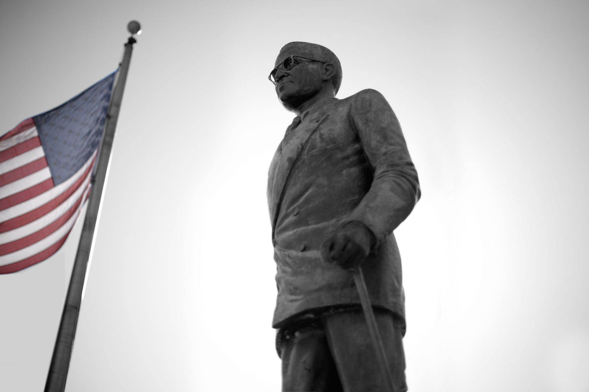 Harry Truman Statue with Flag in Independence, MO