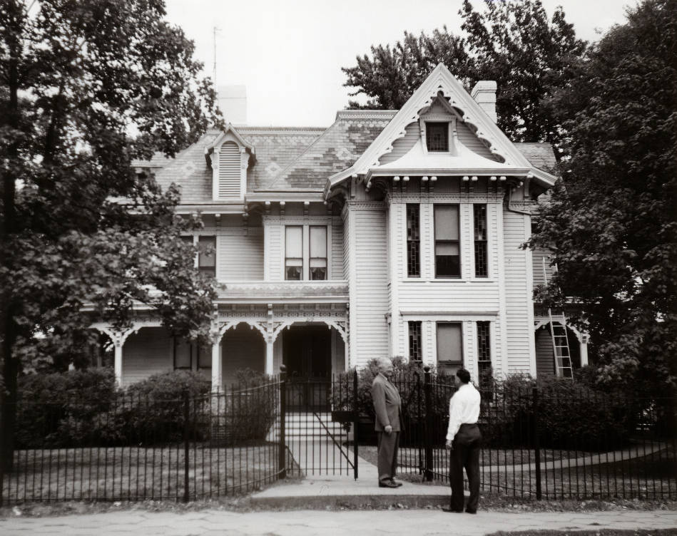 Harry Truman Outside the Truman Home Black and White
