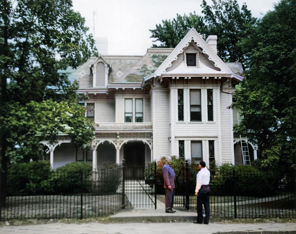 Harry Truman Outside the Truman Home Colorized