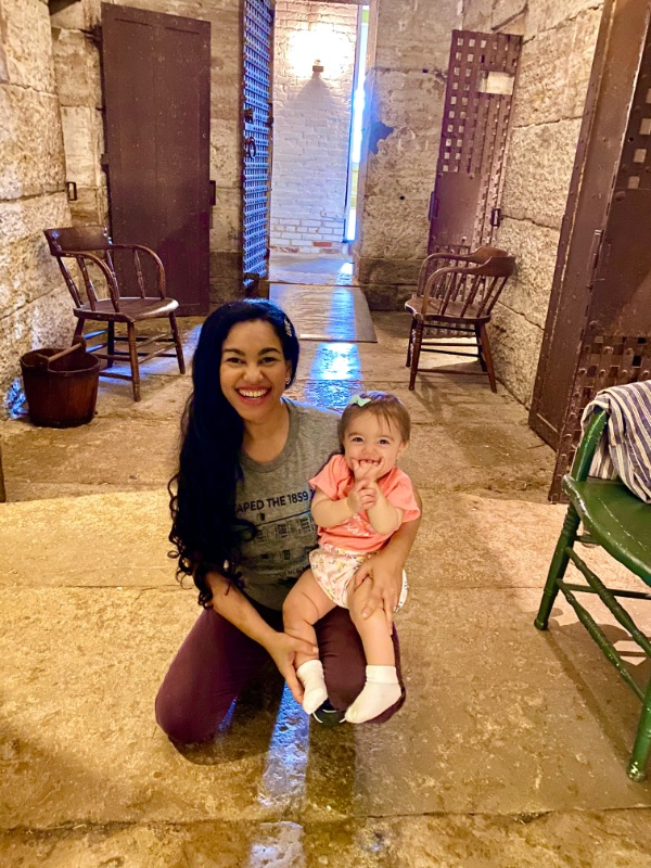 Elayna Fernández and her daughter Elydia at the 1859 Jail, Marshal's Home & Museum in Independence, MO