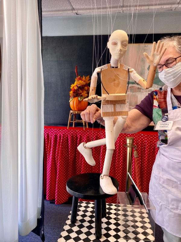 A string puppet on display at the Puppetry Arts Institute in Independence, MO
