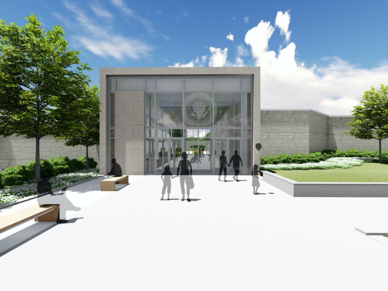 Rendering of the updated entrance at the Harry S. Truman Presidential Library in Independence, MO