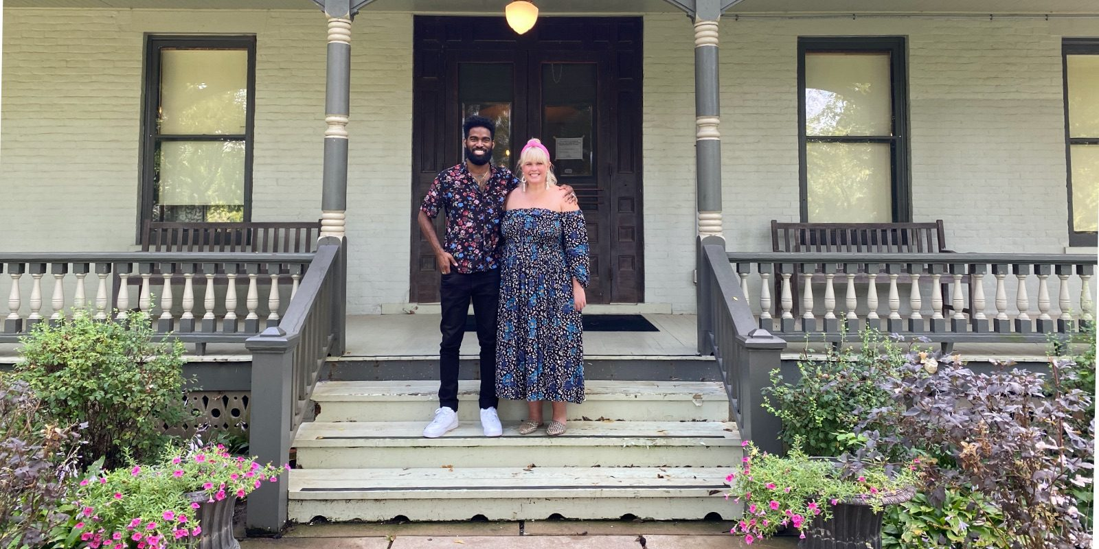 Influencer Jon Marzette and his girlfriend, Ann, pose on the porch of the Bingham-Waggoner Estate in Independence, MO